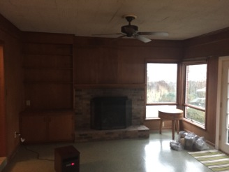The dated paneling and scary fireplace